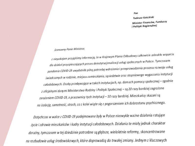 widok na pierwszą stronę listu do Ministra Finansów, Funduszy i Polityki Regionalnej w sprawie mieszkań wspomaganych w KPO