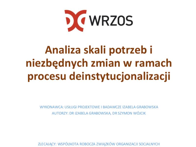 """Fragment strony tytułowej ekspertyzy """"Analiza skali potrzeb i niezbędnych zmian w ramach procesu deinstytucjonalizacji"""""""