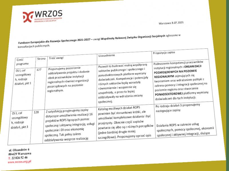 Widok na tabelę z pierwszą strona uwag do FERS zgłoszonych w konsultacjach przez WRZOS